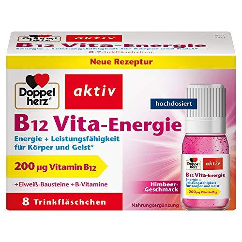 Doppelherz B12 Vita-Energie Trinkfläschchen – Energie und Leistungsfähigkeit für Körper und Geist – Vitamin B12 zur Verringerung von Müdigkeit und Erschöpfung – 8 x 10 ml