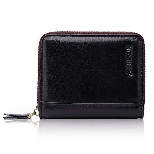 APHISON RFID Genuine Leather Credit Card Holder Wallet for Women Men Coin Purse Zipper Small Secure Card Case/Gift Box (BLACK)