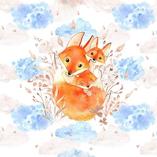 Herz Stoffe Österreich 1 Tiere Panel Fuchsfamilie | mit Fuchs Mama und Baby | Ganzjahressweat - French Terry | 40x50 cm | Kinderstoff für Mädchen und Jungen | Digital | Ökotex