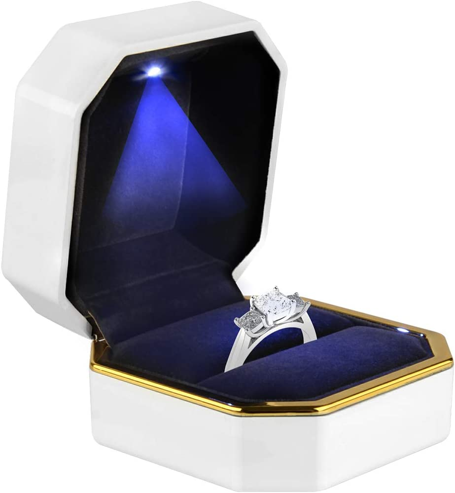 PU Leather Jewelry Gift Boxes w//LED Light For Proposal Engagement Ring Earring P