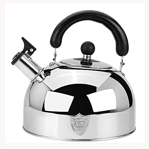 SCJS Bouilloire à gaz sifflant en Acier Inoxydable 304 3L   4L   5L   6L de ménage épaississent la Bouilloire de Restaurant de cuiseur d'induction de gaz de capacité élevée (Couleur  Acier inoxyd