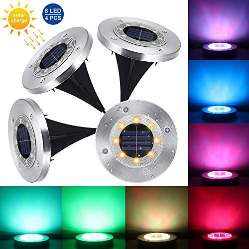 Winbang Solar LED Gartenleuchten, 4er-Pack 8 LEDs Solar Rasenlampe Wasserdichtes LED Untergrundlicht Buried Light