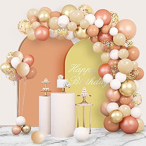 Unisun Juego de 120 globos de guirnalda de globo, color melocotón, pastel, naranja, oro rosa, gris, blanco, globos de confeti, globos metálicos para bodas, despedidas de soltera, fiestas de cumpleaños