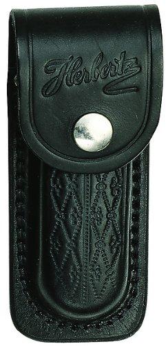 Herbertz Messer-Etui, schwarzes Leder mit Prägemuster, Gürtelschlaufe, für Messer mit 13 cm Heftlänge