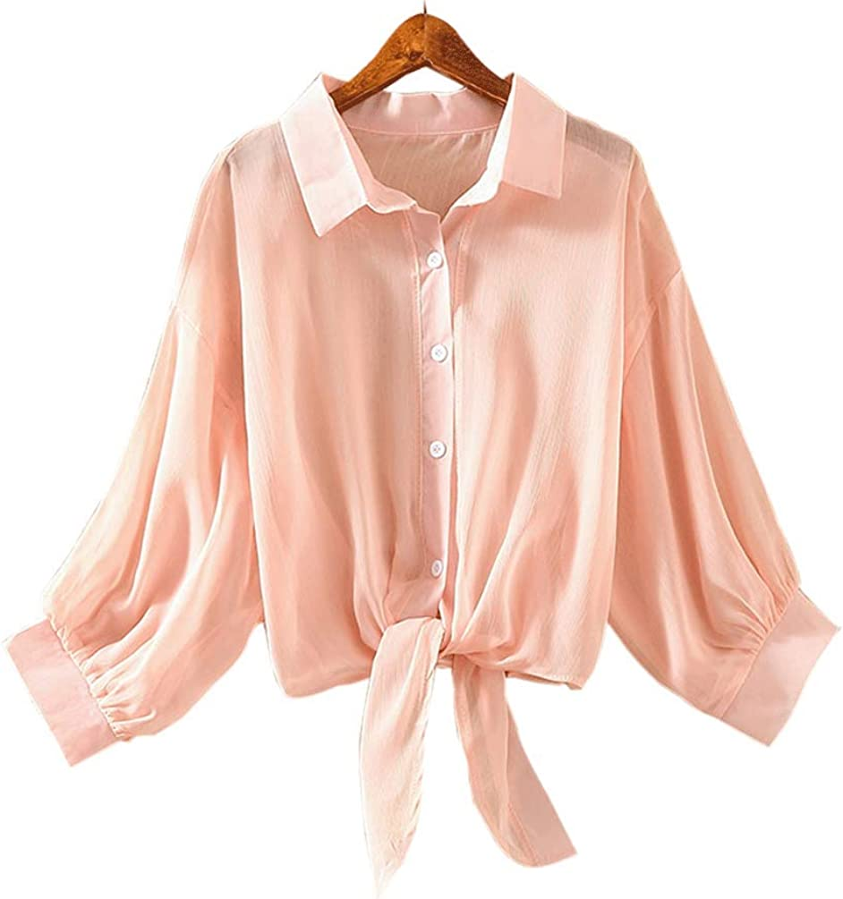 Maidow Women's Chiffon Button Down Blouse Tops Solid Casual Capes Beach Cover up