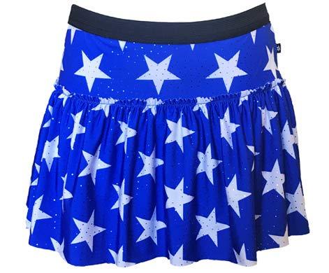 Royal Blue with White Stars Sparkle Running Skirt   Running Costume   Glitter Running Skirt (L)