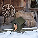 K&H PET PRODUCTS Outdoor Kitty House Cat Shelter (Unheated) Olive 18 X 22 X 17 Inches (100213093)