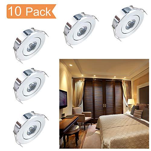Mini LED Einbaustrahler Set,QYHOME 10X 1W Warmweiß LED Deckeneinbaustrahler Schwenkbar COB Deckenspots Aluminium LED [Energieklasse A+++]