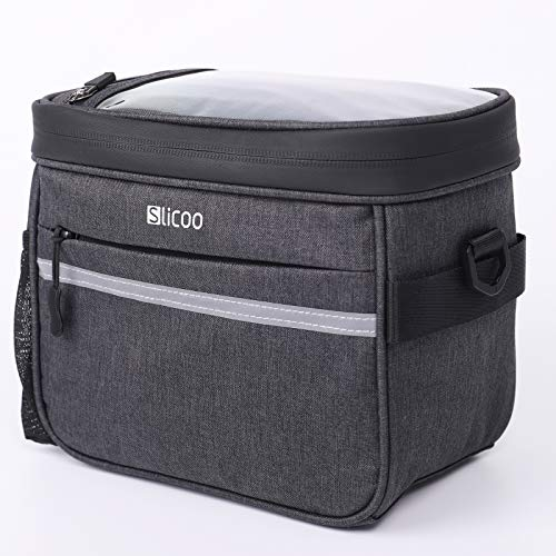 Slicoo Bike Frame Bag, Handlebar Bag Lunch Bags Shoulder Bag (3 in 1), with 7.5in Touch Screen Phone Holder for Cycling Mountain Road