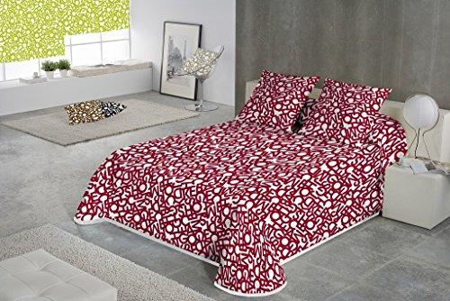 SABANALIA - Colcha Estampada Letras (Disponibe tamaños) - Cama de 150-250 x 280 cm, Rojo