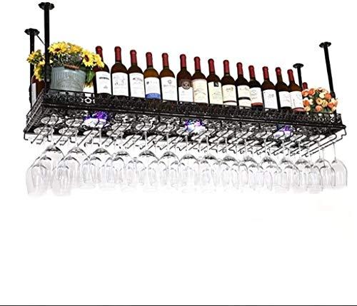 Feeyond Estante De Tallo De Vino Tinto Colgante, Soporte De Botella Colgante De Montaje En El Techo Soporte De Vidrio De Vidrio Metálico - Diverso Almacenamiento,Negro,80 * 35cm