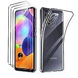 Oududianzi - Hülle für Samsung Galaxy A31+ [3X Panzerglas Bildschirmschutzfolie], Schlank Klar Handyhülle Weich TPU Silikon Gel Hülle - Transparent