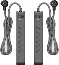 2 Pack Surge Protector Power Strip with 6 Outlets 2 USB Ports 5-Foot Long Heavy-Duty Braided Extension Cords Flat Plug 900 Joules 15A Circuit Breaker Wall Mount for Home Office ETL Listed