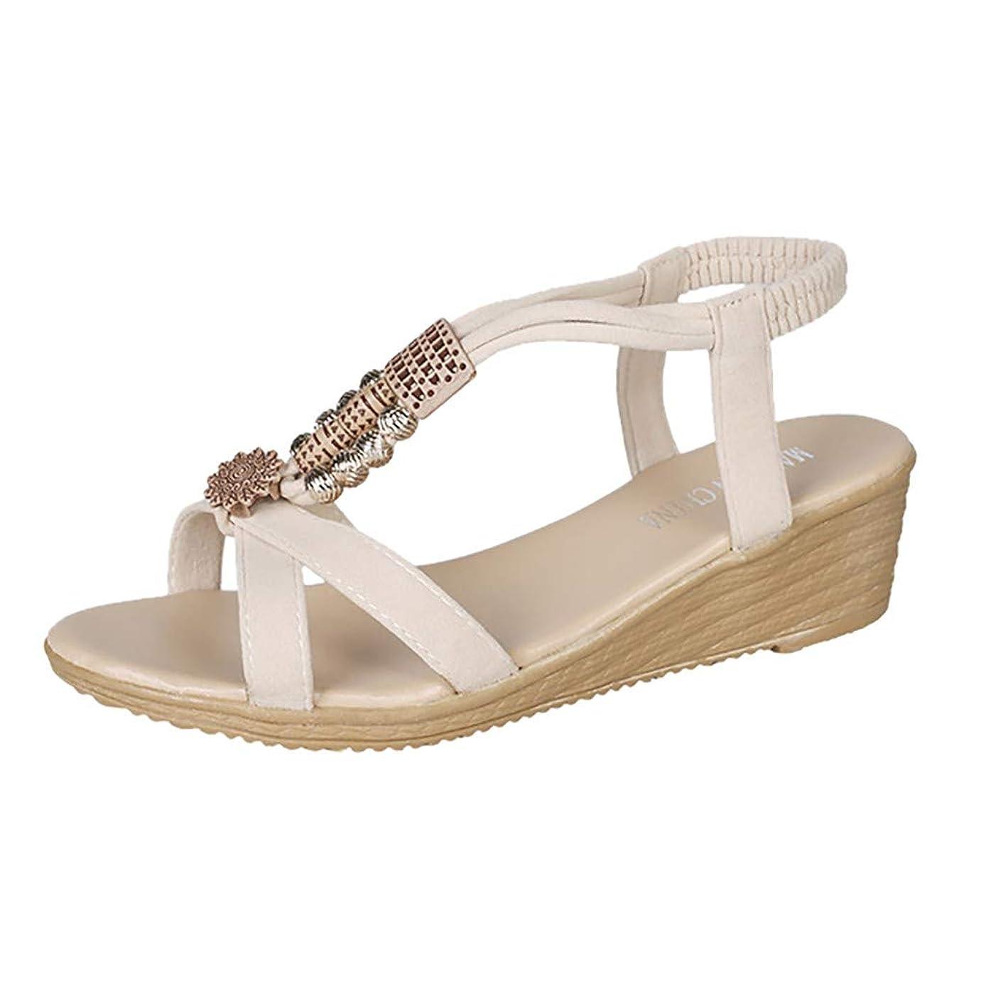 量でフラスコ不要[Rencaifeinimo] 女性はボヘミア浜の女性を結合しますTの結ばれたサンダルの伸縮性があるプラットホームのスライダーの靴最新 夏用 レディース お出かけ 美脚 おしゃれ ファッション 水陸両用
