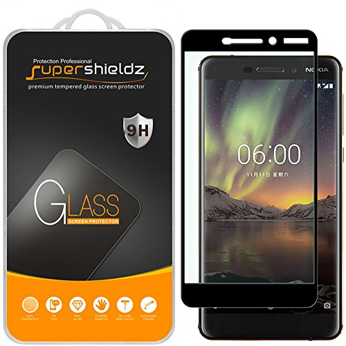 (2 Pack) Supershieldz for Nokia 6.1 (Nokia 6 2018) Tempered Glass Screen Protector, (Full Screen Coverage) Anti Scratch, Bubble Free (Black)