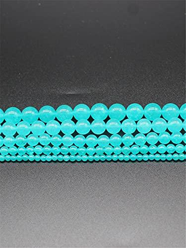 Piedra natural azul claro calcedonia jades bola redonda cuentas sueltas para hacer joyas de 4 a 12 mm DIY pulsera 45 pulgadas hebra azul claro 10 mm aproximadamente 38 cuentas
