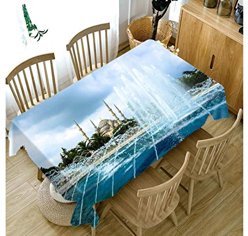 Fuente De Arquitectura Europea 3D Mantel Rectangular Rectangular Cuadrada Cubierta De Mesa Impermeable Poliéster Jardín para Muebles De Cocina