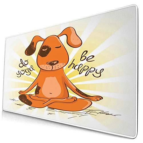 HUAYEXI Alfombrilla Gaming,Hacer Yoga,ser Feliz,Caricatura,Perro Rojo,Sentado,en,posición de Loto,de,Yoga,Divertido,con Base de Goma Antideslizante,750×400×3mm