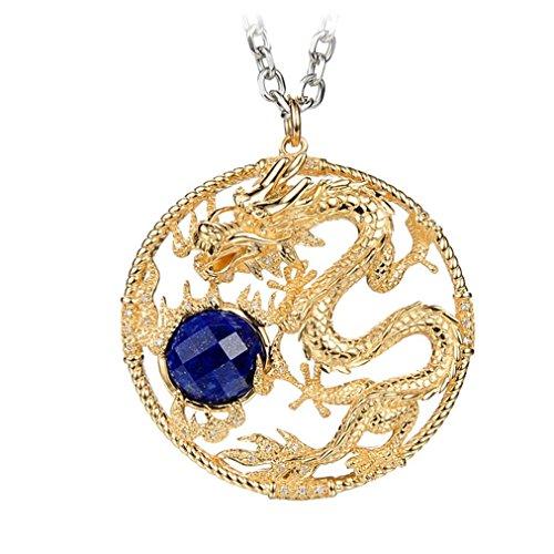 XYLUCKY Original design 18K gold vintage handmade natural blue diamond necklace Chinese dragon