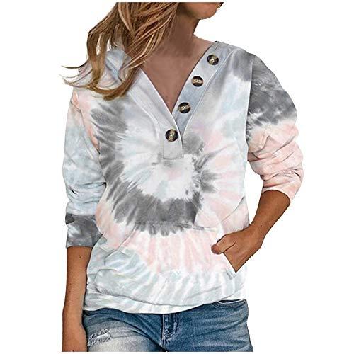 Sudaderas para mujer Tie Dye Tops Botón V Cuello Camisetas Señoras Sueltas Blusa Casual Túnica Tops Mujer Ropa Regalo, gris, 3XL