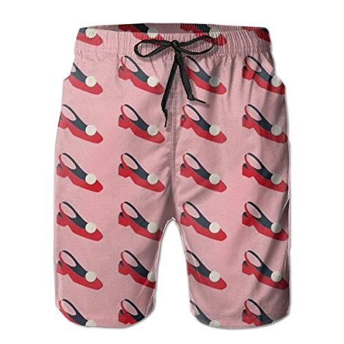 Sheho Bañador para Hombre Zapatos Rojos Pantalones Cortos de Playa de Secado rápido con cordón y Bolsillos, Talla L