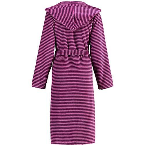 Michaelax-Fashion-Trade Cawö - Damen Walkvelours-Bademantel mit Kapuze und Reißverschluss, gestreift (4337), Größe:38, Farbe:Beere (88)