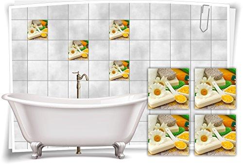 Medianlux tegelsticker, tegelafbeelding, kamille, zout, zeep, wellness, SPA sticker, decoratieve toilet bad