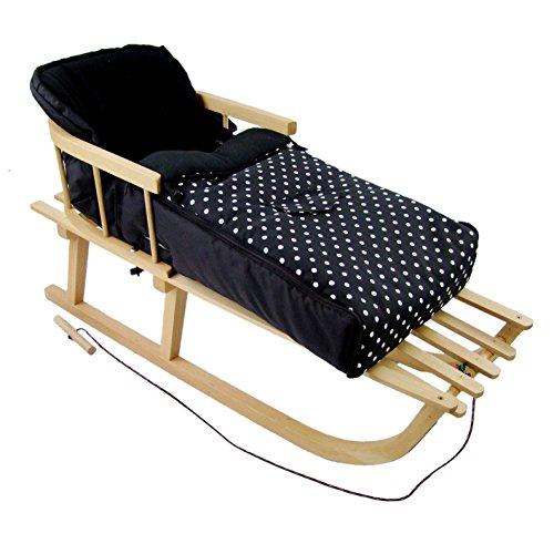 Rawstyle *KOMBIPAKET* HOLZSCHLITTEN mit Rückenlehne incl. Zugleine + WINTERFUSSSACK 108cm aus FLEECE (Schwarz + Punkte Weiß) für Kinderwagen - Lehne -Kinderschlitten NEU