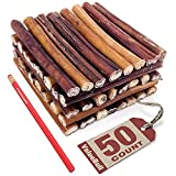 ValueBull Bully Sticks for Dogs, Thick 6 Inch, 50 Count - All Natural Dog Treats, 100% Beef Pizzles, Single Ingredient Rawhide Alternative