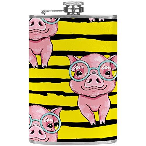 Petaca plana y embudo de acero inoxidable para licor de 237 ml, botella de whisky, vasos de cerdo rosa