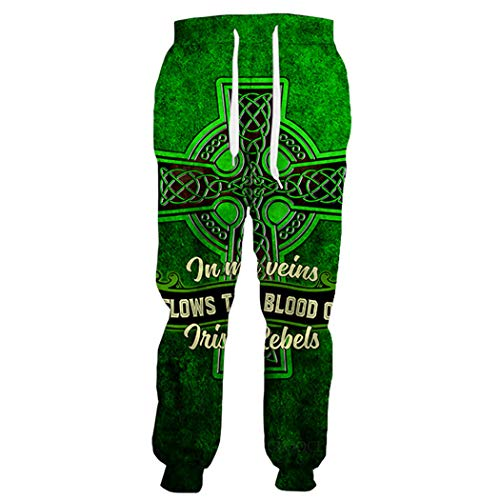 Irish St.Patrick Day 3D Pantalones, Hombres Mujeres Divertidas Sweetpants Creative, Moda Casual Hip Hop Fitness Pantalones Trousers 1 S