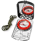 3. Sighting Compass Mirror Adjustable Declination - Boy Scout Compass Hiking Survival - Map Reading Compass Orienteering - Mirror Compass Hunting Fishing - Military Compass Waterproof Backpacking Camping