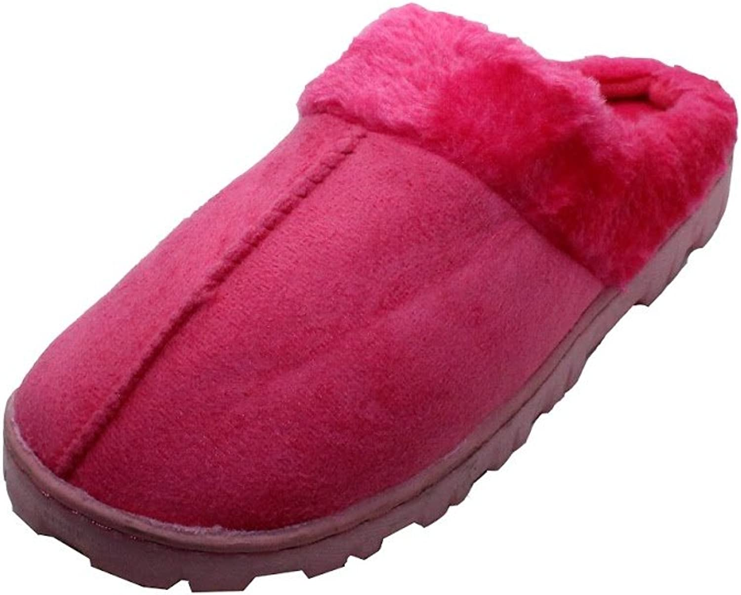 Women's Faux Shearling House Slippers - Black Brown Fuchsia - Indoor Outdoor Slip-ONS (Small (5-6), Fuchsia)