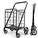 winkeep Shopping Cart, Upgrade Dense Grid Bottom Folding Cart with 360° Rolling Swivel Wheels Heavy Duty Grocery Utility Cart for Multiple Uses Extra Large Grocery Cart Can Hold Up to 280 lbs