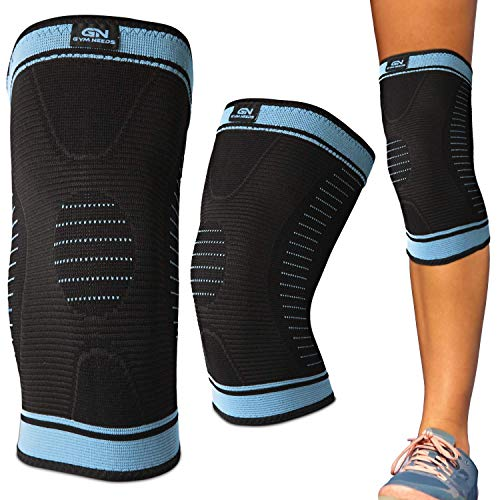 Gym Needs Knee Sleeve Support Brace - Best Men & Women Compression for Running, Crossfit, Recovery, Basketball, Lifting, Gym, Pain Relief, Stays in Place (Black/Blue (1 Sleeve), Medium)