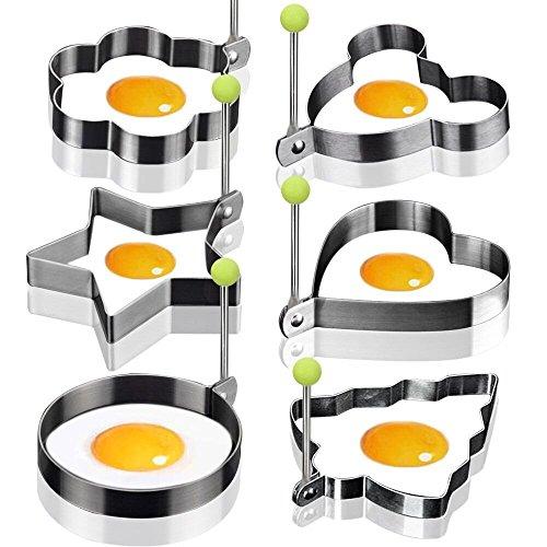 6 Form Antihaft-Ei Ringe Kochen Egg Fried Pancake Omeletts Form Ringe Küche Werkzeug Pancake Ringe Edelstahl