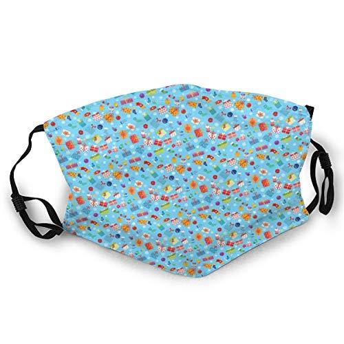 Gezichtsmasker, kleurrijke surprise, voorraaddozen sokken voor middentonen en kerstballen patroon op blauw veiligheidsmasker voor volwassenen
