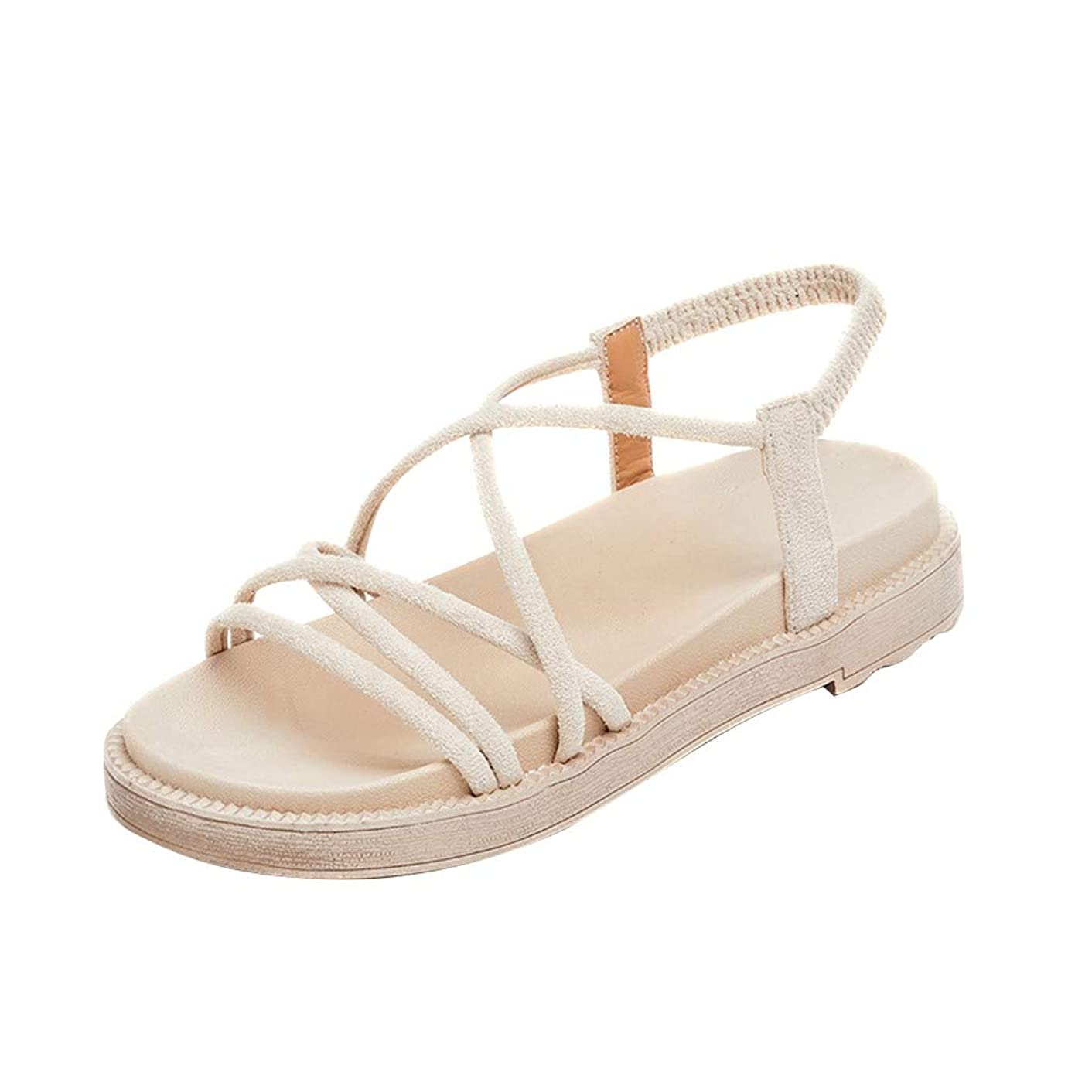 Women's Summer Casual Retro Roman Shoes,Ladies Hemp Rope Strap Comfort Beach Sandals, Soft Outdoor Walking Slippers Shoes