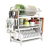 See U - Escurreplatos multifunción de acero inoxidable de 2 niveles, bandeja de secado de cocina, soporte para cubiertos con bandeja de goteo (tamaño: 54 x 30 x 45 cm)