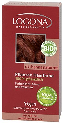 LOGONA Naturkosmetik Coloration Pflanzenhaarfarbe, Pulver - 030 Naturrot - Rot, Natürliche & pflegende Haarfärbung (100g)