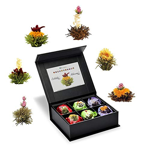 Creano 6 Teeblumen Geschenkbox schwarzer, weißer & grüner Tee, in edeler Magnetbox mit Siberberprägung, 6 verschiedene Sorten, Geschenk zum Muttertag