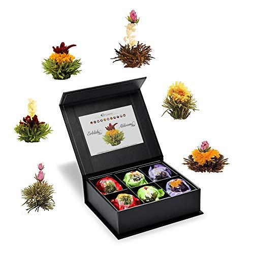 Creano Teeblumen Mix 6er ErblühTee als Probierset Weißer Tee, Schwarzer Tee, Grüner Tee in edeler Magnetbox mit Silberprägung