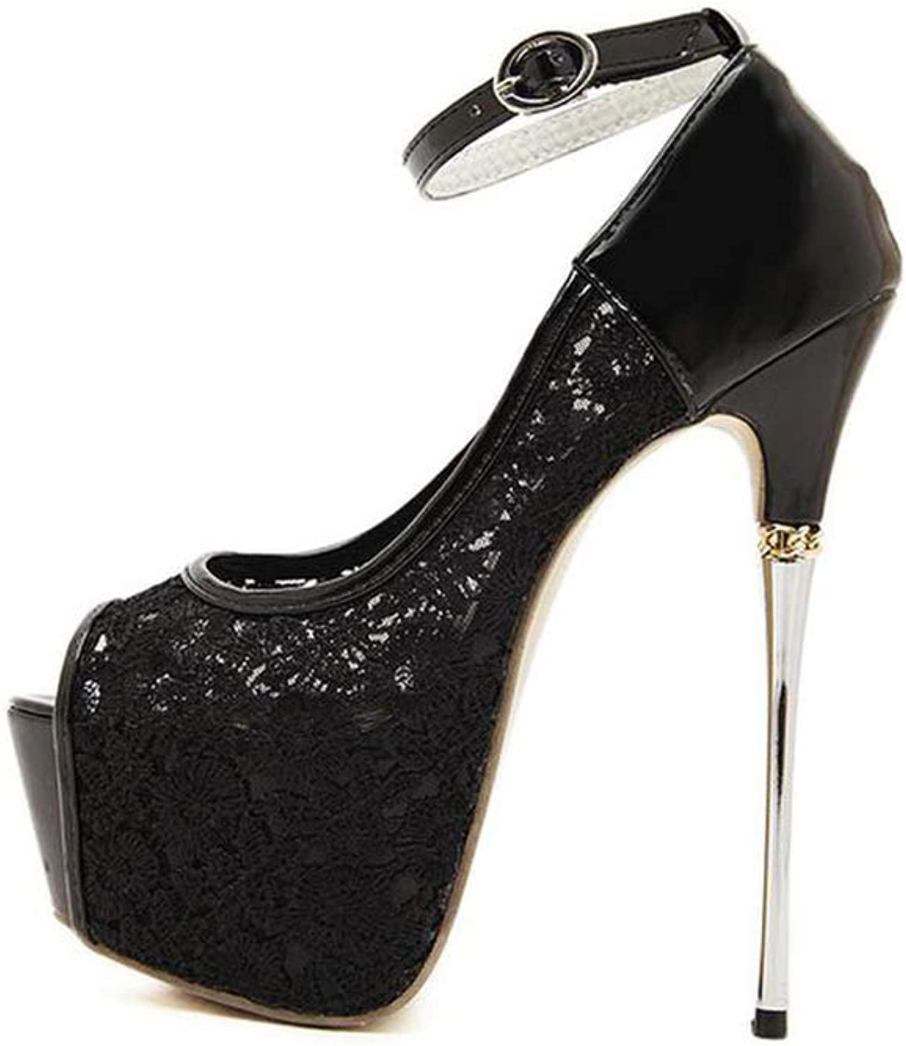High klackar 2019 2019 2019 ny Lace Stiletto Mode Ladies Ultra High klackar Bröllopsparty kväll vit svart, svart, 36  onlinebutik