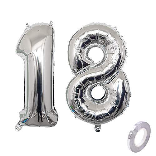 Haosell Party Folienballon Zahl 18 Silber Helium Luftballon Nummer 18 Geburtstag Nummer 18 Geburtstag Party Dekoration Luftballon Geburtstag XXL Folienballon 40