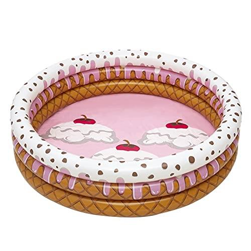YMJTLTU Piscina inflable portátil en forma de helado, tres anillos para bebés, piscina al aire libre, piscina de verano para niños (color marrón