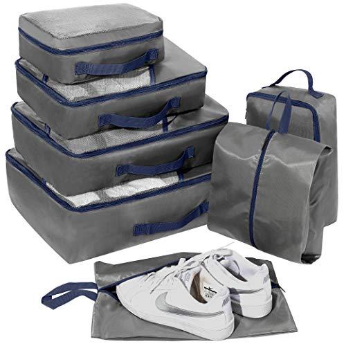 Packing Cubes Set 7-teilig, Faxsthy Packwürfel Packtaschen Kleidertaschen für Kleidung Unterwäsche Kosmetik Wasserdich für Reise Geschäftsreisen Urlaube und Wohnmobile (Grau+Schwarz)