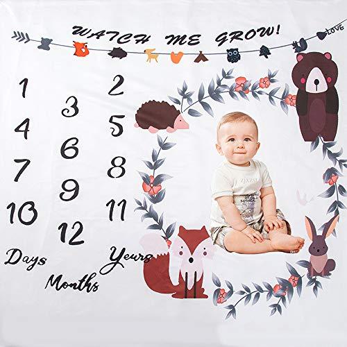 Gobesty Baby Monatlich Meilenstein Decke, 39 X 39 Inch Unisex Baby Monats Decke Baby-Decke Meilensteindecke für Jungen und Mädchen mit Monat als Geschenk zur Geburt(weiß)
