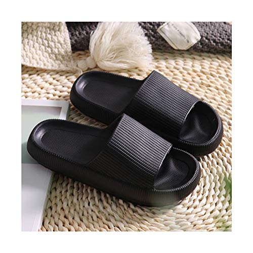 DGJU Pillow Slides Slippers Cloud Feet Ultra Soft Slippers Superweiche Hausschuhe Unisex Comfort Slide Sandalen Thickened Non-Slip Sandals (Black, 38-39)