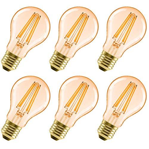 6x Bombillas Vintage LED E27 6.5W Equivalente a 51W, Bombilla Edison Retro Casquillo Gordo, Blanco Cálido 2500K, Lámpara Anatigua con Filamento 650lm - LVWIT.