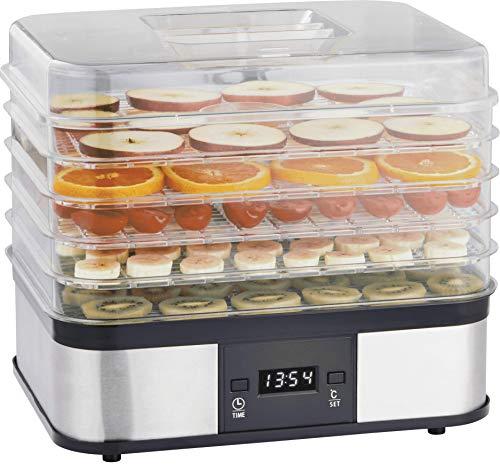 Gastronoma 18310004 Dörrautomat, 5 Dörrgitter, große Gesamtdörrfläche, 40 bis 70° C einstellbar, Edelstahl, polycarbonate
